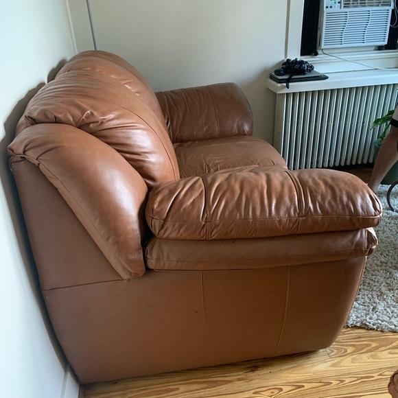 2 Burnt orange/brown leather love seats 37 x 74